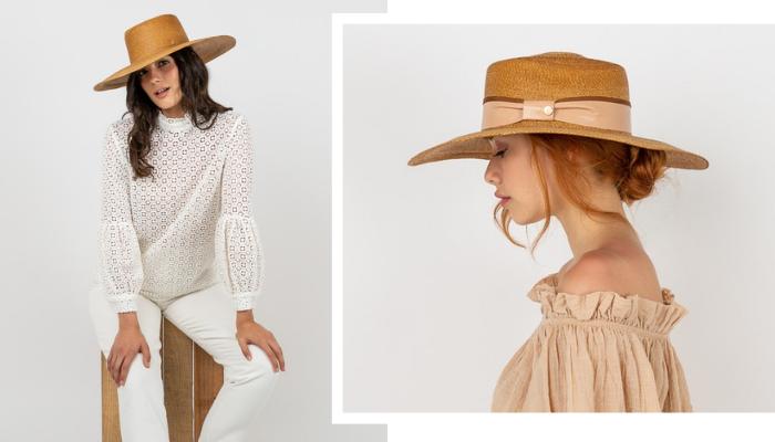 Sombrero Boston Palma Camel, sin cinta masario